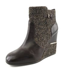 New Tory Burch 'Cherie' Brown Leather Wedge Ankle Boots Women's Size 10.5 M*