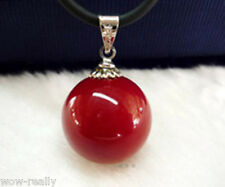 New Pretty Red Color 14MM South Sea Shell Pearl Round pendant