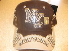 NEW YORK CITY NYC RHINESTONE CRYSTAL BLING BASEBALL HAT CAP BROWN & TAN NY