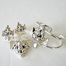 Vintage Sterling Silver Grapes &  Leaves Bracelet Pendant Brooch and Earring Set