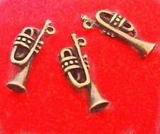 12pc antique bronze saxophone metal pendant-3804