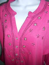 Papagallo Womens 3/4 SL  Top Blouse Tab Sleeves Lush Berry Pink NWT Plus 1X Hot