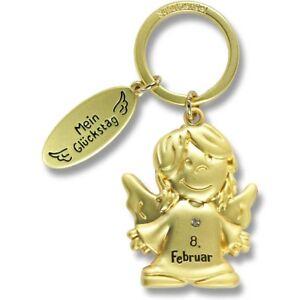 Schutzengel Schlüsselanhänger Mein Glückstag 08. Februar gold