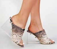 Clear High Heel Sandals Wedge Slide Mules Open Toe Natural Snakeskin Cape Robbin