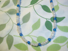 Handmade WHITE & BLUE 15 inch Beaded NECKLACE CHOKER C-13 by Quality Jewelry
