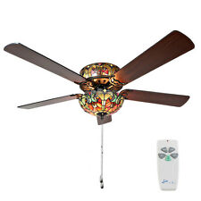 River of Goods Tiffany Style Stained Glass Halston Ceiling Fan - Spice 1