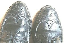 Timeless 1960s Men Oxford Wingtip Shoes~ Black Leather ~ Made In England ~Mint~8