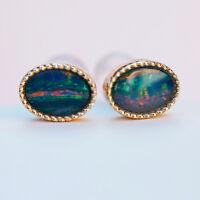 18#Elegant Australia Amazing colorful Doublet Opal 9K Gold Earring/stud 6.14cts