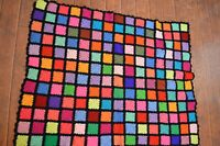 """VINTAGE GRANNY SQUARE AFGHAN,48 X 60"""" THROW LAP BLANKET,COLORFUL,NEVER USED"""