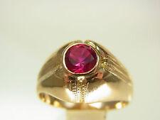 Bonito rubin anillo 585 dorado Massive ferrocarril finamente decorado