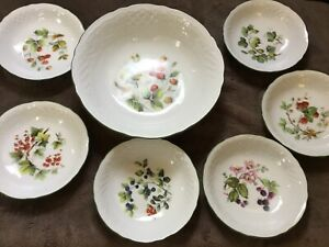 Suchumann Germany Large Fruit Bowl And 6 X Small Fruit/ Desert Bowls