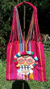 Halloween Dia De Los Muertos Mexican Hand Embroidered Tote Bag Rainbow E36 15x16
