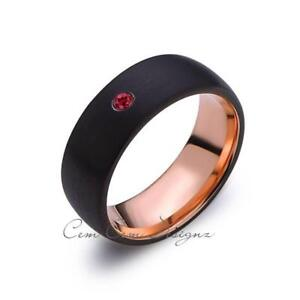 8mm,Mens,Red Ruby,Black Brushed,Rose Gold,Tungsten Ring,Birthstone,Wedding Band,