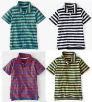 Mini Boden Boy's New Stripy Jersey Polo T-shirt Ecru Cotton 1.5-12 years new