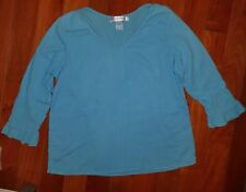 Fresh Produce Aqua Blue Crinkled Top Shirt Blouse Cotton V-neck 3/4 Sleeve Small