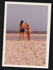 Old Vintage Photograph Two Sexy Young Women in Bathing Suits Standing on Beach