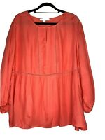 Fever Ladies Coral Long Sleeve Lace Accent Striped Tunic Size XXL
