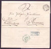 Vorphilabrief ca. 1868 aus Nienburg nach Bremen - portofreier Dienstbrief (314)