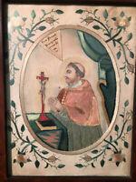 Saint Charles Borromée Broderie Double Face Archevêque Milan XVIII eme antique