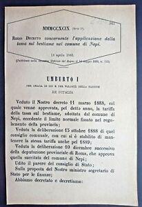 NEPI(VT)-REGIO DECRETO X APPLICAZIONE DELLA TASSA SUL BESTIAME-2730