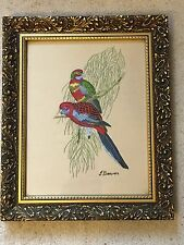 Vintage mid century lorakeet parakeet bird tapestry embroidery signed framed
