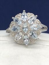 Sterling Silver Aquamarine & Diamond Accent Flower Ring Size 8 MSRP $175