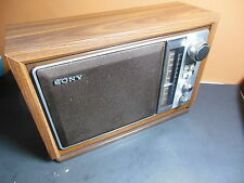 Vintage SONY Table Radio AM/FM RADIO ICF-9740W Wood Grain Works Good Cond.