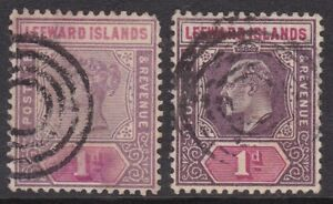 LEEWARD IS 1890 & 1902 1D WITH SHIP CONCENTRIC RING CANCELS (2)