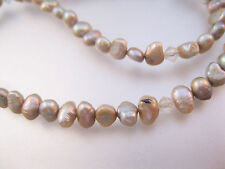 """Vintage Gray Fresh Water Pearls Faceted Crystal 16"""" Necklace or Bracelet"""