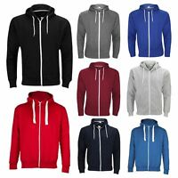 Mens Plain Zipper Hoodie Coloured Hooded Zip Fleece Jacket Hoody Sweatshirt Tops