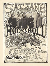 Jefferson Airplane Charlatans 1966 FD IV California Hall ROCK & ROLL Handbill