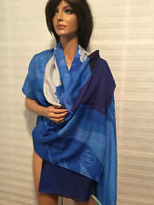 Authentic CHANEL '18 Turquoise & Blue Cotton & Silk Pareo Scarf Shawl in Bag