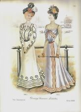 Two Victorian Style Prints Ladies in their long Victorian Dresses