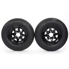"2* ST175/80D13 LRC ET Bias Trailer Tires on 13"" 5 Lug Black Spoke Wheels B78-13"