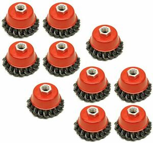 """10x Twist Knot Wire Wheel Cup Brush 3"""" M14 for 4.5"""" 115mm 9"""" Angle Grinder"""