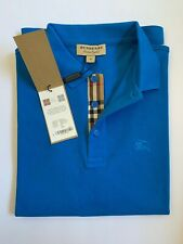 BURBERRY LONDON  MEN S POLO OUTLET SHORT SLEEVE CHECK PLACKET SHIRT BRIGHT OPAL