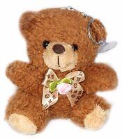 Fluffy Fur Teddy Bear Plush Toy Keychain - Stuffed Animal Doll Tag Lucky Charm
