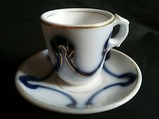 Ancienne tasse brulot et sa sous tasse top bistrot café  signée