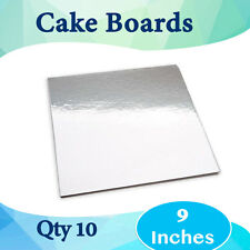 "Cake Board 10 Pc x 9 Inches"" Square Silver Board Cardboard by Alpha Packaging"