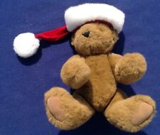 Vintage 1998 Vermont Teddy Bear Plush Jointed w/Red Christmas Hat Preowned Mint