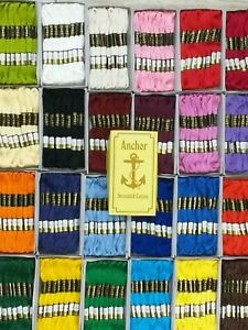 24 Anchor Floss Skiens Cross Stitch Cotton Crochet Embroidery Thread in each CLR