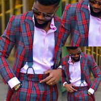 2Pieces Check Coat Jacket Pants Men Suits Wedding Slim Fit Peak Lapel Tuxedos