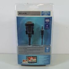 BELKIN VGA AUDIO VIDEO CABLE TO CONNECT LAPTOP PC TO HDTV 10FT 3.5MM PORT (C2200