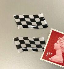 2 x Waving Chequered Flag Sticker Domed Finish Black & Chrome 25mm
