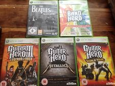 XBOX 360 Guitar Hero Bundle 5x Metallica Legends 3 World Tour Beatles Rock Band