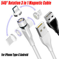 3 in 1 Magnetic Fast Charging USB Cable Charger QC3.0 Phone For Type-C Micro USB