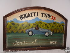 Art Deco Style Arched Wooden Bugatti Type 35 Wonde Car Wall Hanging Sign