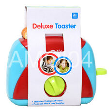 Kids Deluxe Toy Toaster & 2 Slices of Toast Pops up Timer Pretend Kitchen Play