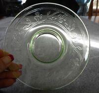 VINTAGE HAZEL ATLAS GREEN DEPRESSION URANIUM GLASS CLOVERLEAF SAUCER