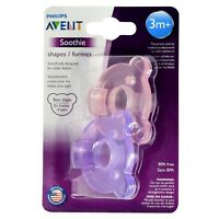 Philips AVENT Soothie Bear Shaped Pacifiers, 3+ Months 2-Pack Pink/Purpe
